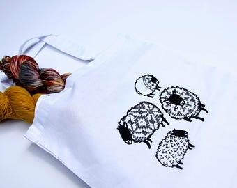 Knit Sheep Cotton Tote Bag