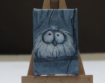 Bird Painting on canvas, Cute Original Bird Art, Funny Blue Bird Miniature painting,  Tiny Whimiscal Bird painting gift,
