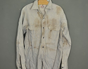 Vintage 60s workwear stripped shirt Brother Sanforized made in USA