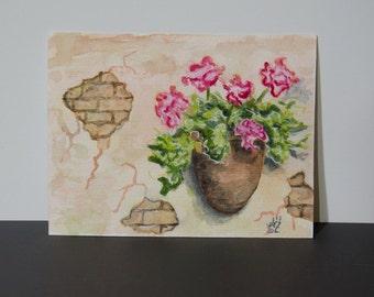 Original Aquarell Blumen - 10x15 cm