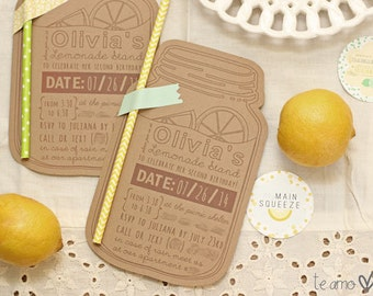 Personalized Lemonade Stand Birthday Party Invitation (set of 10)
