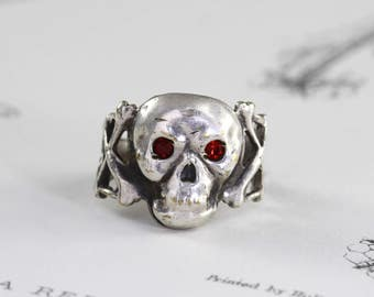 Antique Skull & Crossbones Ring, Circa 1920 Silver Plate Red Paste Gemstone Eyes, Bohemian Festival Gothic Momento Mori Jewelry