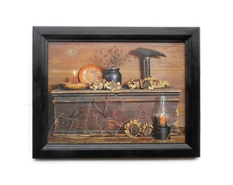 Primitive Pleasures, Crow, Candle, Primitive Picture, Art Print, Country Decor, Wall Hanging, Handmade, 19x15 Custom Wood Frame, Made in USA