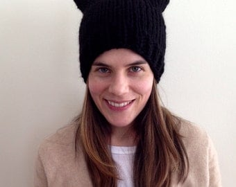 READY TO SHIP black pussy hat 100% wool chunky soft wool warm hand knit knitted