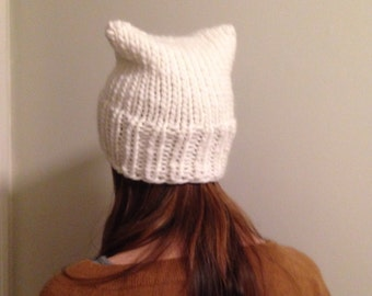 READY TO SHIP white 100% wool pussy hat hand knit with chunky yarn soft and warm