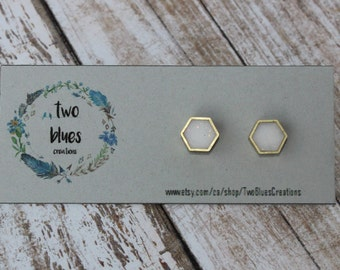 Sparkly White Hexagon Stud Earrings- Brass Frame
