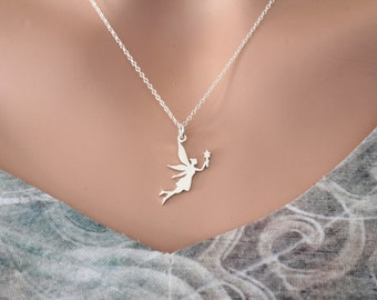 Sterling Silver Fairy Charm Necklace, Fairy Necklace, Tooth Fairy Necklace, Silver Fairy Godmother Necklace, Fairy Tale Charm Necklace