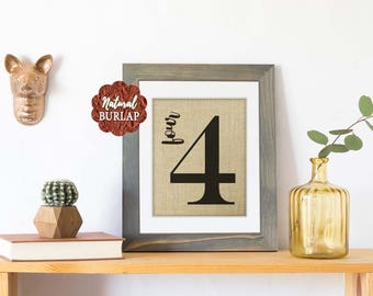 Gallery Wall Décor, Family Number Sign,  Burlap Print,  Flash Card Sign,  Housewarming Gift, Farmhouse Décor, Family Sign, Fixer Upper