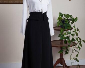 Midi Skirt / Midi Skirt Women / Black Midi Skirt / Office Skirt / Retro Inspired Midi