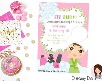 Printable Spa Party Invitation, 5x7, 4x6, Spa Birthday Party Invite, Glamour Girl