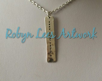 Silver Hope in Morse Code Bar Necklace on Silver Crossed Chain or Black Faux Suede Cord. Dots & Dashes, Different