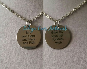 Double Sided Bird and Bear and Hare and Fish & Give My Love Her Fondest Wish Engraved Stainless Steel Disc Necklace on Silver Chain