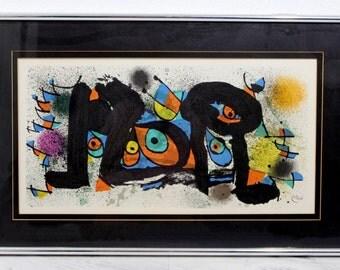 Mid Century Modern Surrealist Joan Miro Lithograph Framed