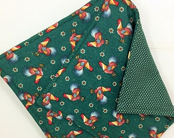 Fabric Potholders, Set of 2 Cocky Roosters Potholders, Hunter Green Rooster Kitchen Potholders, Rooster Kitchen Decor, Rooster Decor