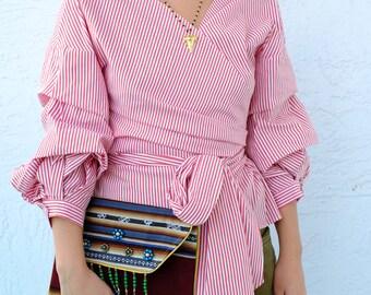 Bohemian Winter Striped clutch - Ethnic embellished women purse - SALE