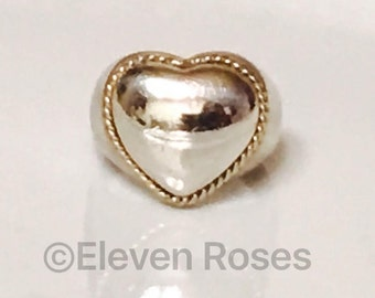Tiffany & Co. 925 Sterling Silver 750 18k Gold Milgrain Rope Heart Dome Design Extra Large XL Statement Ring Size 7.5