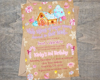 Gingerbread House Invitation | Land of Sweets | Candy Land | Christmas Cookie Decorating Party Invitation | Watercolor Sugar Plum Sweets