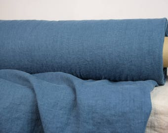 Pure 100% linen fabric 290gsm. Dark teal color. Heavy, softened-washed, dense, homespun.