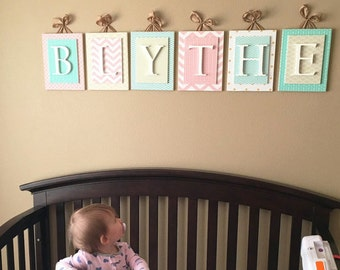 Nursery letters,Pink nursery letters,Hanging Wall Letters,Wood Letters,Custom Nursery Letters,Wood Nursery Letters,Hanging Wood Letters,