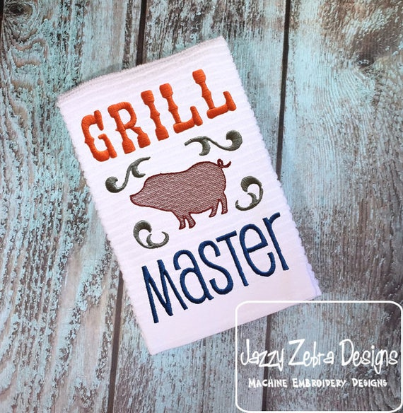 Grill Master saying embroidery design - barbecue embroidery design - picnic embroidery design - summer embroidery design - cookout