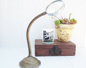 Vintage Magnifying Glass with Gooseneck Stand, Magnifier, Vintage Industrial Office Decor