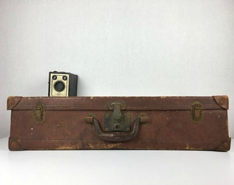 Antique Leather Suitcase 1920s Leather Luggage Luggage Vintage 1920s Leather Suitcase Old Worn Brown Leather Suitcase