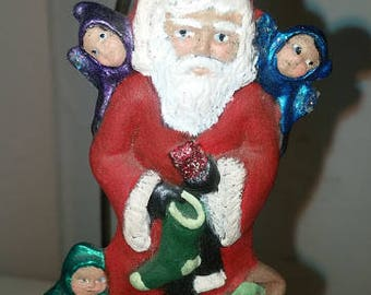 Santa Ornament with Elves and Toy Bag