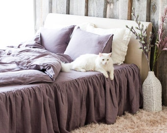 Softened LINEN DUVET COVER, Handmade Flax Duvet Cover, Woodrose duvet cover from stonewashed linen, Woodrose natural flax duvet cover