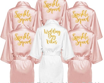 bridesmaid robes set of 6, personalized blush gold glitter matching robes, bridesmaid gift, wedding day vibes, sparkle squad, bridal robe