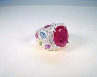 21.99 CTW  Ruby, Sapphire & Fancy Gemstone Ring size 7.25 - White Gold over 925 Sterling Silver