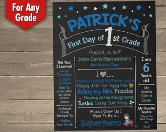 First Day of School Chalkboard, 1st Day of School Chalkboard - Personalized and Printable Sign