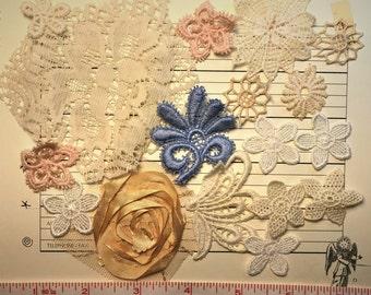Vintage applique fuzzy cut lace for journal embellishment