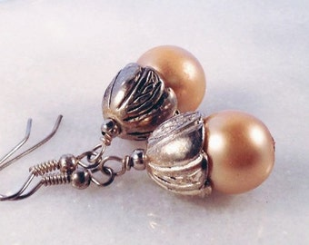 E069, Czech Glass Pearl Dangle Earrings, oxidized silver findings and ear wires give vintage feel