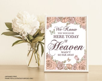 We Know You Would Be Here Today, If Heaven Wasn't So Far Away, Personalised, Wedding Print, In Memory Of Sign