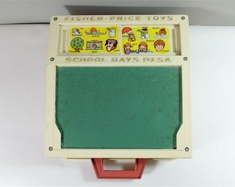 Vintage Fisher Price School Days Desk - retro Fisher Price School Days Desk - Vintage toy - Retro Fisher Price - 1972