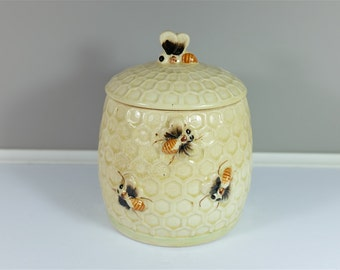 Vintage Japanese ceramic Canister - Bees and hive retro kitchen pot - 50s vintage made in Japan jar - Vintage kitchen