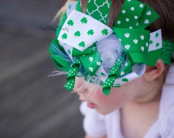St. Patrick's Day Hair Bow OTT Headband Green White