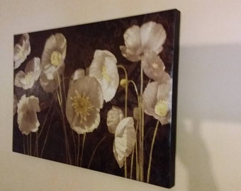 """Large Matted 3D Print Sepia Toned Poppies 18"""" by 36"""""""