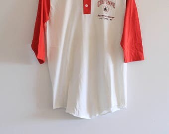 Early 80's Vintage MJ Soffe Red and White Cheyenne Raglan