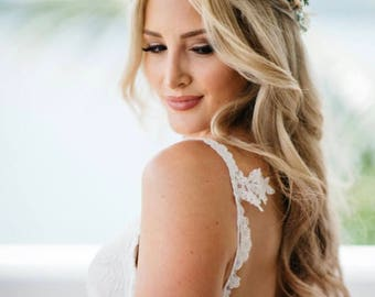 Succulent Flower Crown Peach & Ivory - Succulent and Rose Bridal Crown - Succulent Halo - Bridal Hair Piece -Photo Prop