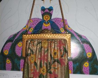 DECO Whiting & Davis BABY Mesh Purse w/ DIAMOND Design Frame ~Festive Floral 1920s Enameled Bag ~Big Vintage Flapper Handbag ~Great Gatsby!