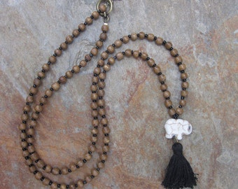 beaded tassel necklace 108 brown wood beads white stone elephant black tassel bohemian tassel necklace mens mala women's mala elephant mala