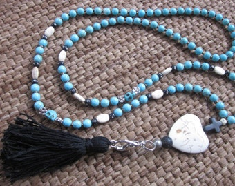 long beaded lanyard ID badge necklace turquoise skull cross heart jewelry bohemian chic boho yoga black tassel long beaded necklace
