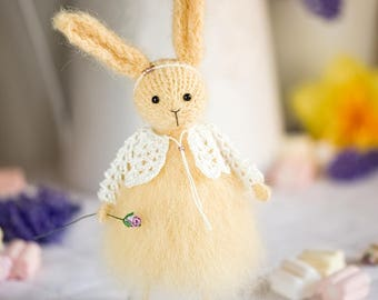 Art Doll Bunny Rabbit - Easter gift Easter Bunny Yellow Easter Home Decoration Spring Nursery Decor Stuffed Animal Gift for her Candyfleece
