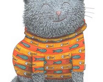 Cat in a Stripy Jumper - an illustration print.