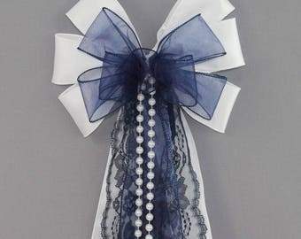Navy Sheer Lace Pearl Wedding Pew Bow - Wedding Ceremony Bow, Navy Blue Wedding Decorations
