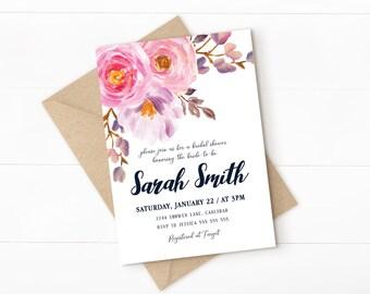 blush bridal shower invitation, blush floral invitation, floral bridal shower invitation, champagne, blush wedding shower invitation