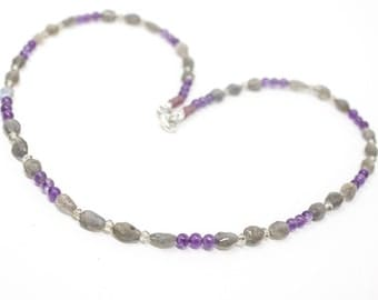 Labradorite and Amethyst Necklace, Delicate Necklace, Layering Necklace, Purple Necklace, Gray Gemstone Jewelry