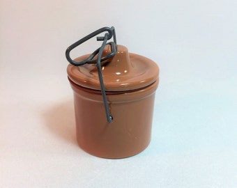 Small Light Brown Stoneware Cheese/Butter Crock With Bale Clasp