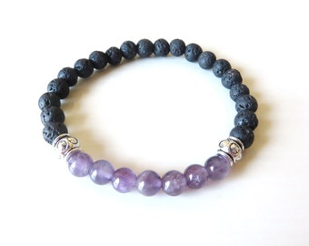 Chakra Bead Amethyst Lava Bead Essential Oil Aromatherapy Yoga Relaxation Therapeutic Stretch Bracelet